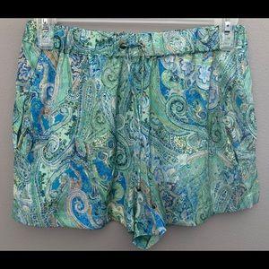 Zara basic pocket drawstring paisley silk short M